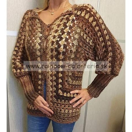 Melírový sveter hnedý - Hexagon
