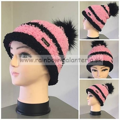 Ružovo-čierna čiapka s brmbolcom