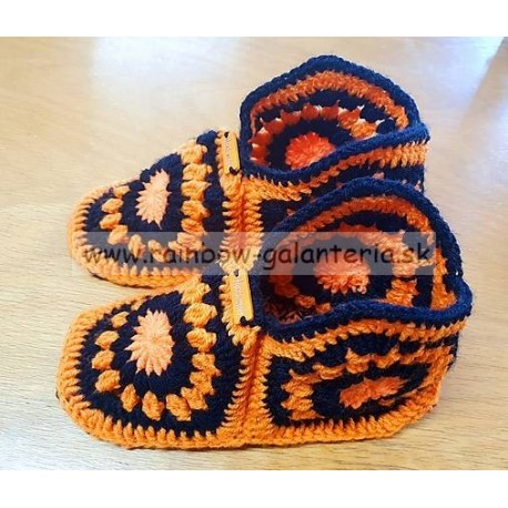 Papučky zo šesťuholníkov - oranžové
