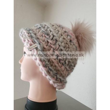 Háčkovaná čiapka melírová -šedo ružová