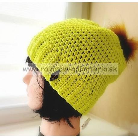 Čiapka v neónovej žltej farbe