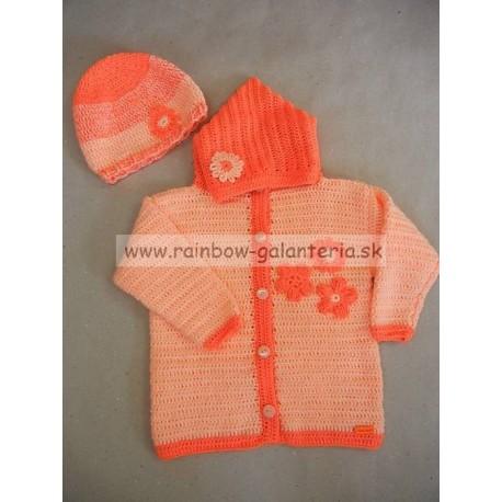 Set hačkovaný svetrík + čiapka